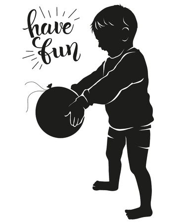 Silhouette very happy kid with balloon. EPS 10.
