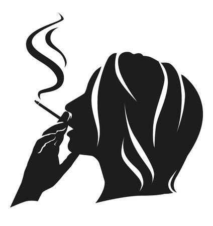 Silhouette girl smokes.