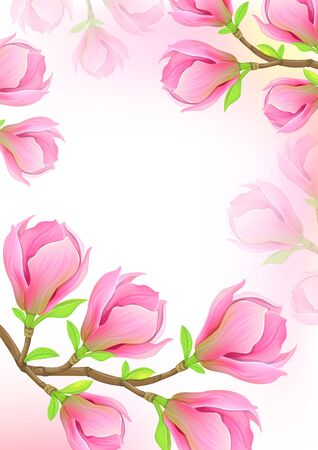 Beautiful background with pink magnolia branch