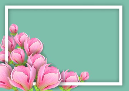 Background with pink magnolia for horizontal design Ilustrace