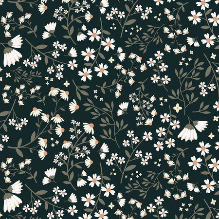 Seamless Daisy Floral Pattern Illustration