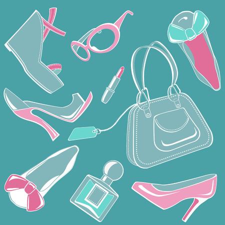 zapatos azules: Conjunto de moda  Vectores