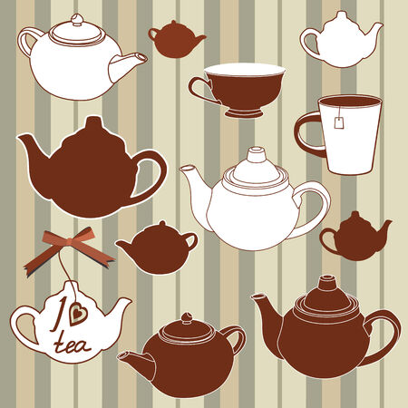 english breakfast: Teapots and cups seamless background Illustration