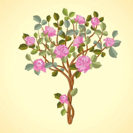 Tree with red roses on yellow background Vector