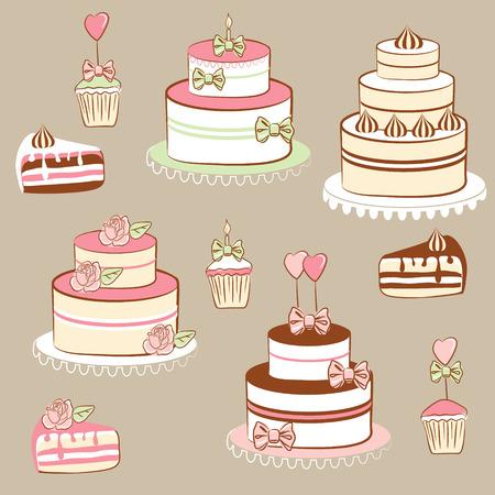 porcion de torta: Tartas y pasteles  Vectores