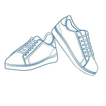 Sport shoes outlined  Illustration
