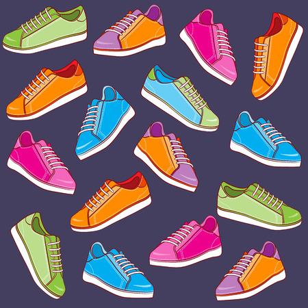 Colored sport shoes background  Illustration