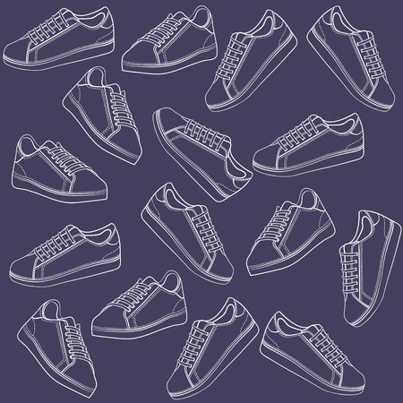Sport shoes outlined background Stock Vector - 7859137