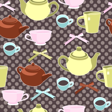 Teapots and cups seamless background  Vector