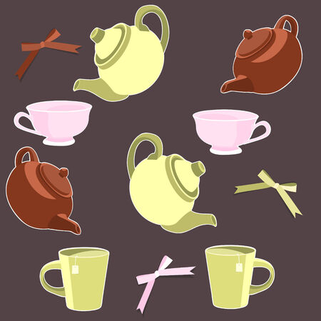 Teapots and cups seamless background  Stock Vector - 7859102
