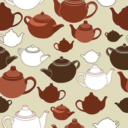 teapots: Teapots and cups seamless background