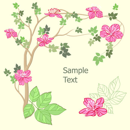 peach tree: Apple tree background Illustration