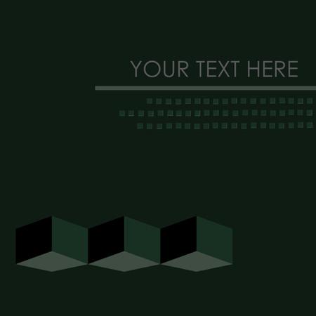 Blank Note With Dark Green Background, Geometric Design