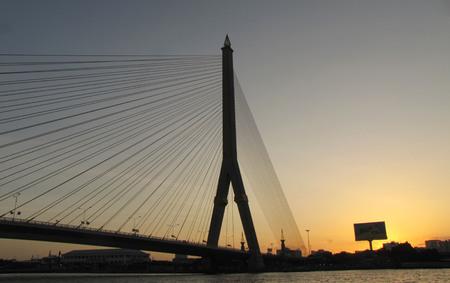 praya: Suspension bridge over Chao Praya river, Rama VIII, Bangkok, Thailand