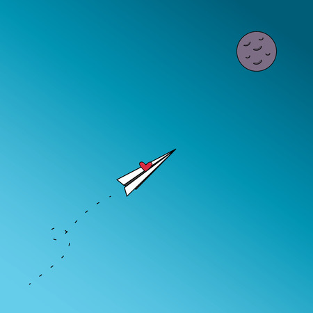 intend: Fly up to the moon with heart, intend or be engrossed in something to the aim