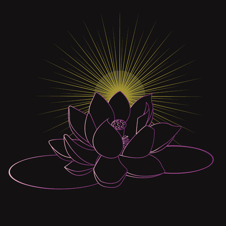 The yellow light of Buddha lotus for peace and tranquil Illustration