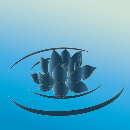 gently blue: Green-blue lotus with yellow stroke float in the calm wave of water