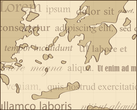 ancient map: ancient map with brown background and lorem ipsum text Illustration