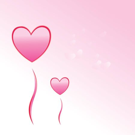 two balloons in heart shape with petals of sakura's flower falling down to the floor and gradient pink background