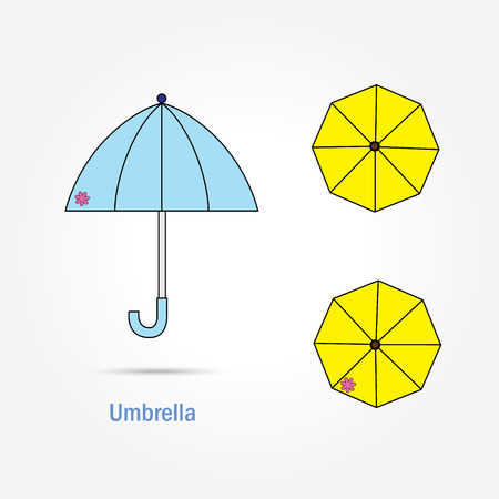 yellow umbrella: pastel blue and yellow umbrella with pink flower