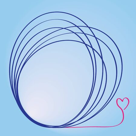 overlapped: overlapped circle text frame in  blue color, gradient blue background, and heart