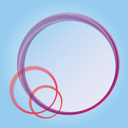 overlapped: overlapped circle text frame in red, pink, orange, and blue color and gradient blue background Illustration