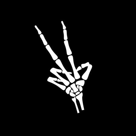 hueso de la mano blanca, cuente el número dos en fondo negro Ilustración de vector
