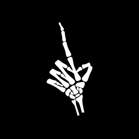 haunt: White hand bone count the number one in black background Illustration