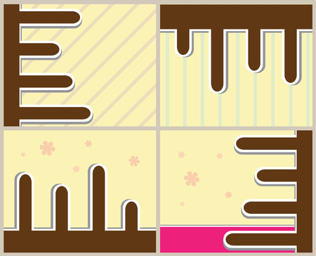 pale yellow: brown and pale yellow background with flowers, pale purple, pale blue and pink stripes Illustration