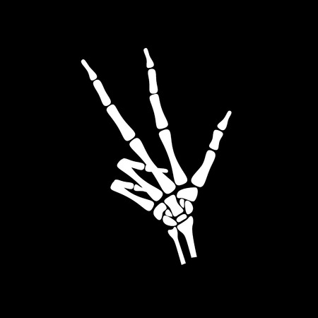 human icons: White hand bone count the number three in black background Illustration