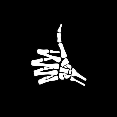 Blanco pulgar de la mano del hueso aumento de expresar la sensación de buen trabajo en el fondo negro Ilustración de vector