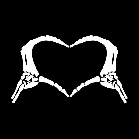 White hand bone express the feeling about love by show the heart in black background