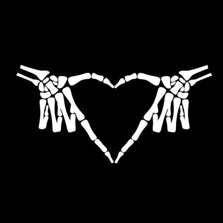 L'os blanc exprime le sentiment de l'amour en montrant le c?ur inversé sur fond noir