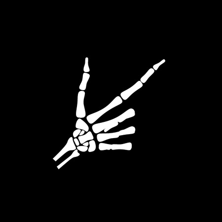 White hand bone show the number eight in chinese hand sign in black background