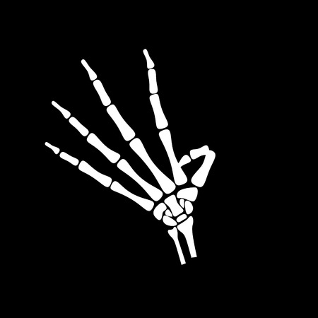White hand bone count the number four in black background Illustration