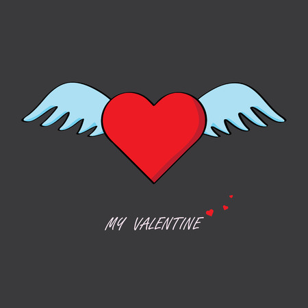 the red heart with blue angel wings floating in the air