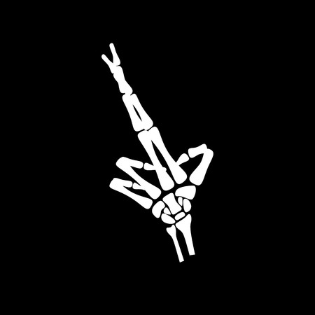 haunt: White hand bone crossed finger in black background