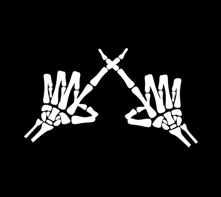 numero diez: White hand bone show the number ten in chinese hand sign in black background Vectores