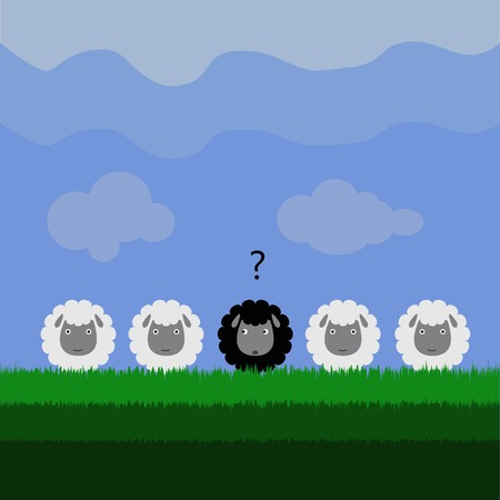 Unconfident black sheep Vector