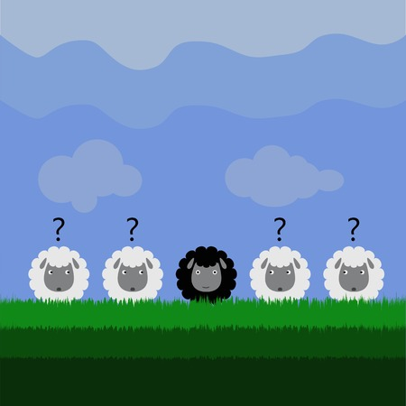 confident black sheep Vector