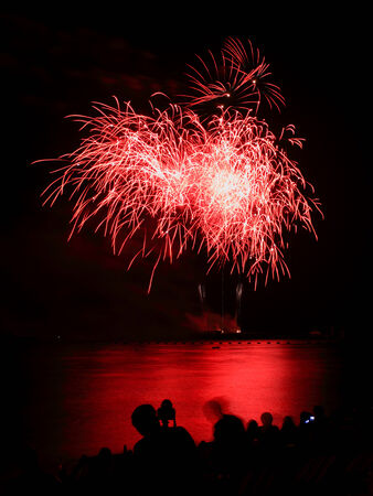 Blooming firework of international firework festival Stock Photo