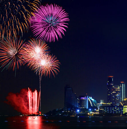 Blooming firework mixed color of international firework festival  Stock Photo