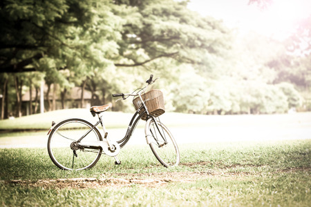 Bicycle in the park with retro or vintage color tone  photo