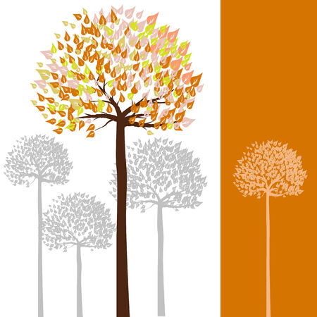 warmth: Warmth color tone of tree with orange color band on right  Illustration