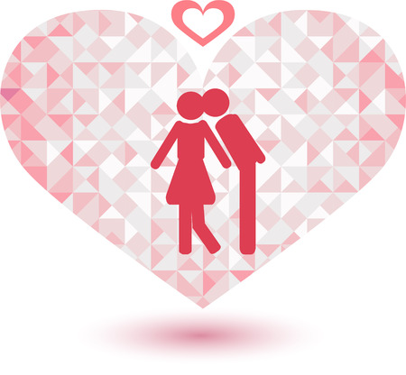 sign of lover on Pink tone triangle abstract background  Ilustracja