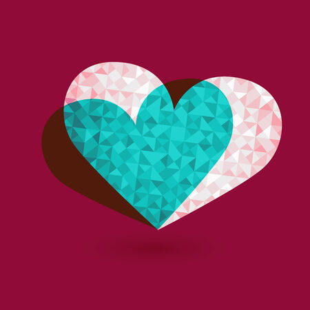 heart tone: Pink tone of heart shape triangle abstract background