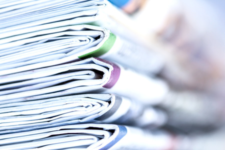 closeup stack of newspaper Stock Photo