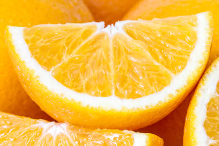 closeup of sliced orange  Standard-Bild