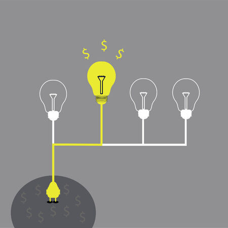 energy work: charge energy for some idea to make money concept