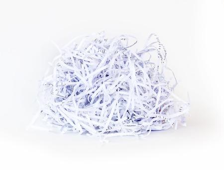 Shredded paper ball on white background